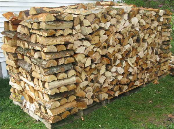 Stacked firewood drying properly